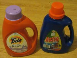 Astra detergent. Ounce for ounce, it kicks the pants off of Tide--the Cadillac of Detergent--for less than three bucks a bottle!