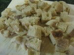 See how many croutons just 2 English muffins make?