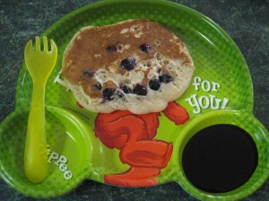 I hope my son doesn't have nightmares about the scary pancake I made him...