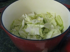 I filled the pot with cabbage up to the halfway mark for a one-can-of-Spam sized recipe.