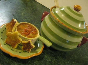 Soup always tastes better out of a funky tureen.