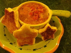 Dress up this soup with some cookie-cutter grilled cheese sandwiches.
