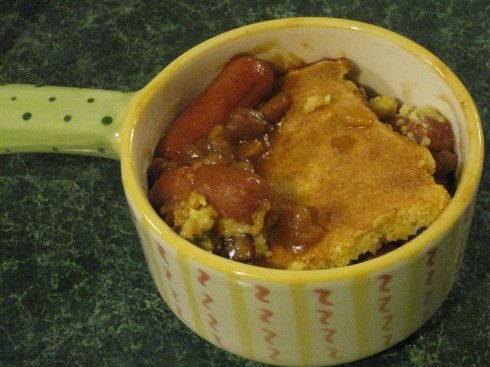 It's like a giant corn dog in a bowl...it's the most fantabulous ghetto meal you'll ever make.