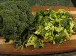 Chopped broccoli chunks.