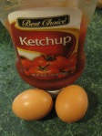 Ketchup & eggs instead of milk.