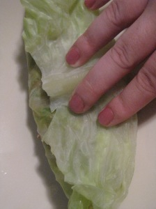 Stuffed cabbage leaf.
