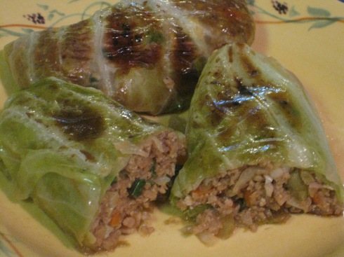 Asian-flavored cabbage rolls